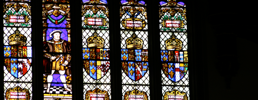 Stained glass window in the great hall