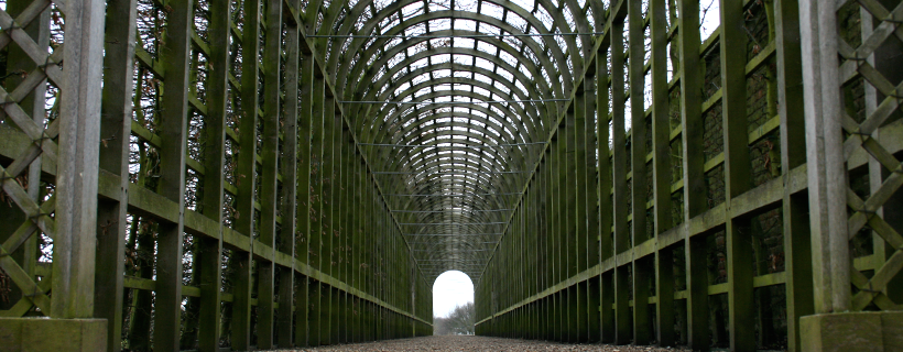 Covered walkway in the gardens