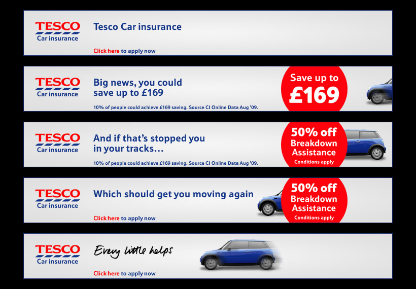 Tesco: Car Insurance banners