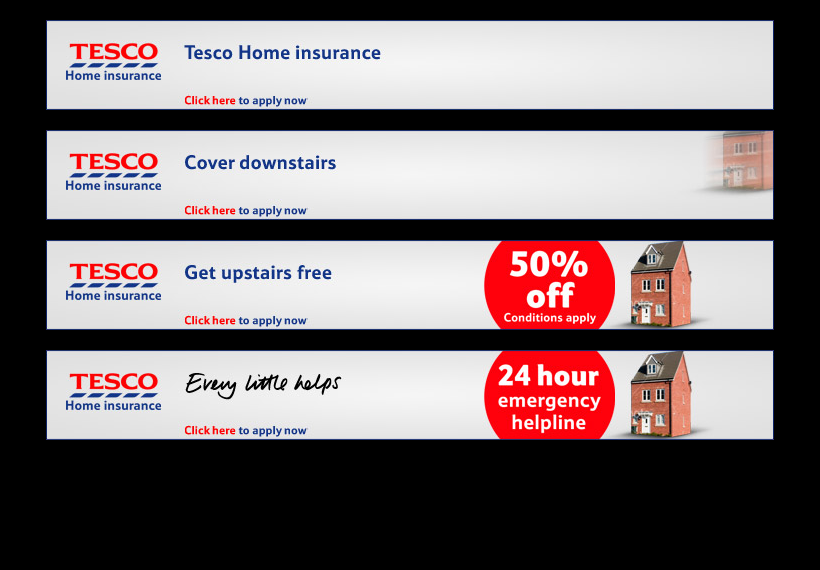 Tesco: Home Insurance banners
